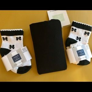 NWT Janie & Jack Black Tights & 2 Socks